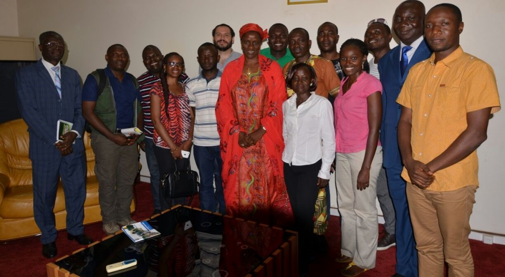 Central African reporters pose with Cameroon's Minister Delegate at the Ministry of Forestry and Wildlife, Ms. Koulsoumi A. Boukar during a courtesy visit. Photo credit/Giuseppe Molinario