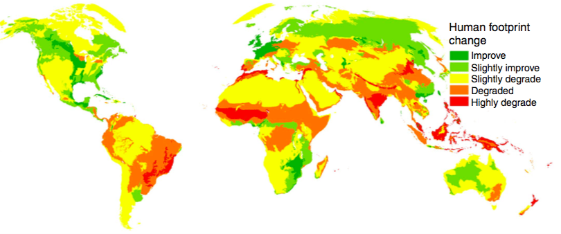 Map showing changes in human environmental impact increased or decreased from 1993 to 2009. Map from Venter et al 2016.