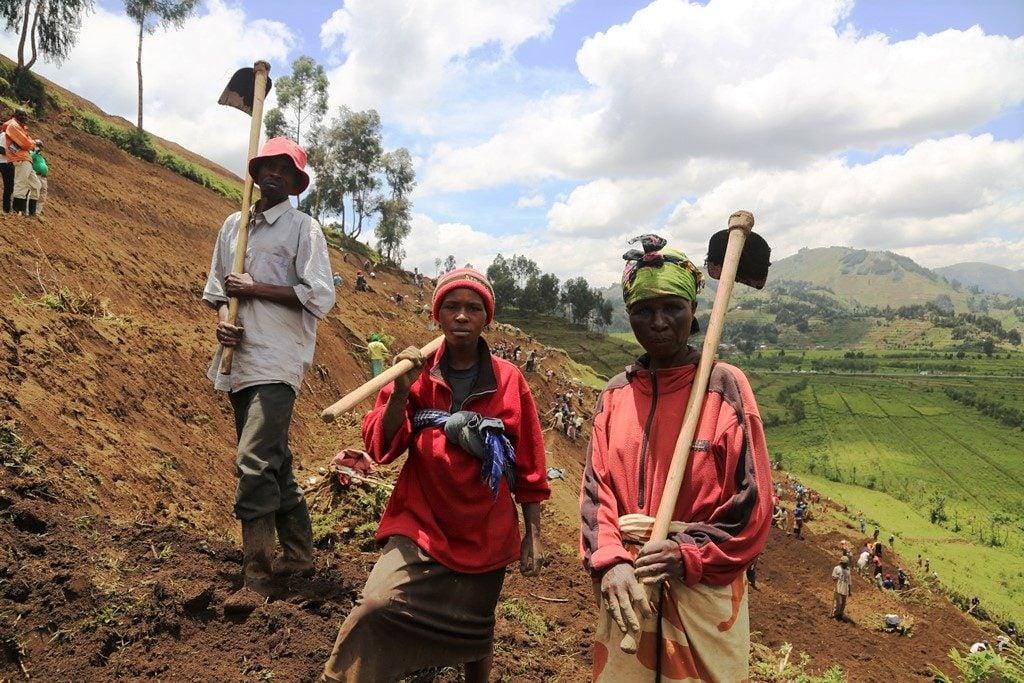 Les agriculteurs emploient des terrasses à s'adapter à l'érosion du aux changements climatiques, dans le district de Nyabihu, au Rwanda. Photo/Fond d'Adaptation