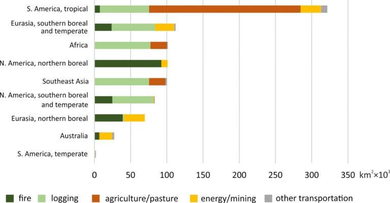 Globalement, l'extraction du bois et l'expansion agricole ont causé le plus de pertes des pfi, mais les causes régionales varient largement. (Graphique: Potapov et al. / Sciences Avances).