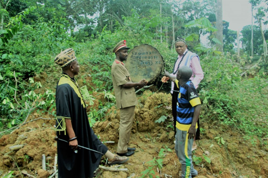 RECTRAD delegation at Endoum where wood has been abandoned Phot credit/Eugene Ndi