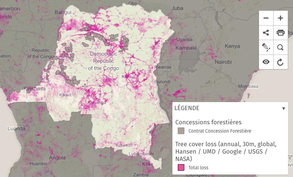 Cette carte représente l'affectation des terres en RDC. Elle est créée par le Ministère de l'Environnement, Conservation de la Nature et Développement Durable (MECNDD) avec l'appui de World Resources Institute (WRI). Carte en cours de validation avec le Ministère.