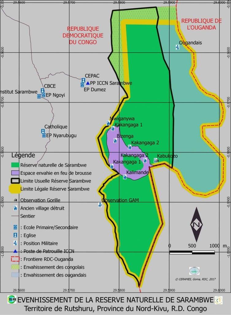 carte de la réserve de Sarambwe