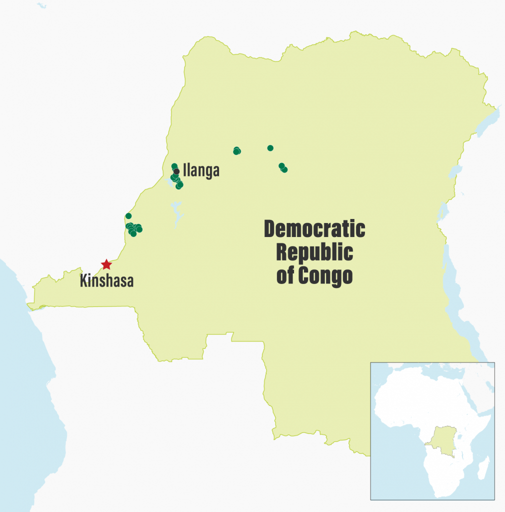 Approximate location of awarded community forest concessions in DRC supported by CARPE partners as of May 2018. (Data courtesy of WWF and AWF; map produced by WRI)