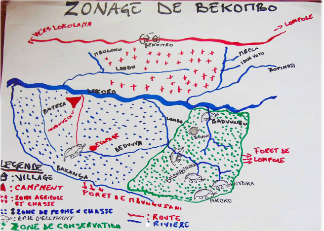 Hand-drawn map produced by a community in the Salonga landscape of central DRC. The map identifies various types of land, including villages, hunting zones and elephant bais (clearings). (Photo/map courtesy of WWF-CAFEC) Villages use what they have on hand to map their community forests and resources. In this village's case, the first version of the map was drawn with sticks in the soil; it was eventually copied onto paper. (Photo courtesy of WWF-CAFEC) Eventually many of the hand-drawn maps are computerized, such as this map from Ilanga. (Photo/map courtesy of WWF-CAFEC; translated/adapted by WRI) Community members near Salonga meet to provide input on the map created for their territory. (Photo courtesy of WWF-CAFEC)