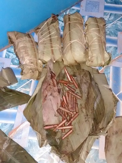 These bullets were confiscated from poachers trying to disguise them as chikwangue, a cassava-based food popular in Central Africa that is traditionally wrapped in forest leaves. (Photo courtesy of WCS)