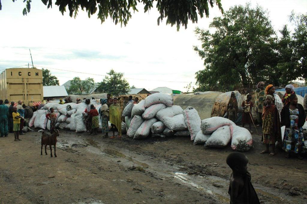 Des sacs des braises en provenance du PNVi saisis par l'ICCN et distribués aux vulnérables dans le Rutshuru. Photo/InfoCongo
