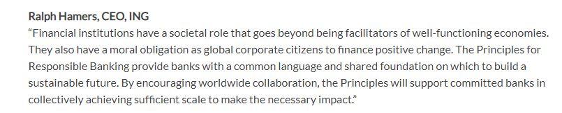 Citation de la banque Néerlandaise ING au sujet des principes d'une banque responsable.